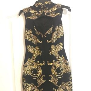 gold unique print midi dress (thick material)